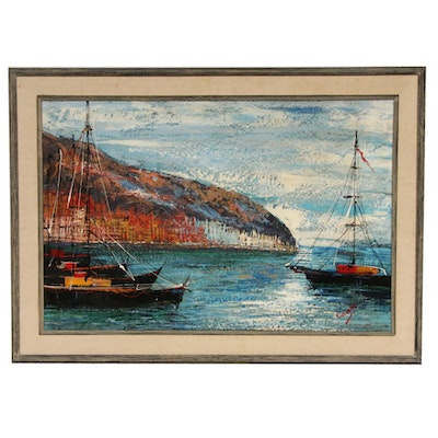 Harbor Scene with Sail Boats Oil Painting, Mid-20th Century