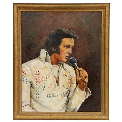 Oil Painting of Elvis Presley, Mid-20th Century