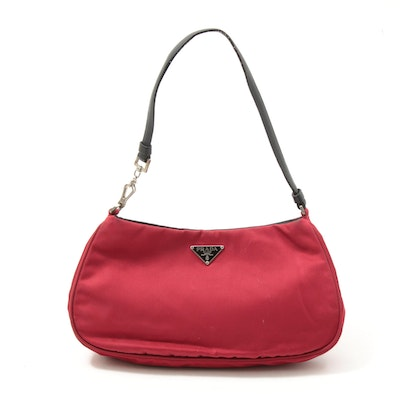 Prada Red Tessuto Nylon Baguette with Black Leather Trim