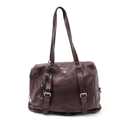 Prada Daino Leather Buckle Satchel Shoulder Bag in Aubergine
