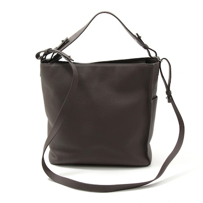 AllSaints Kita Convertible Crossbody Bag in Brown Pebble Grain Leather