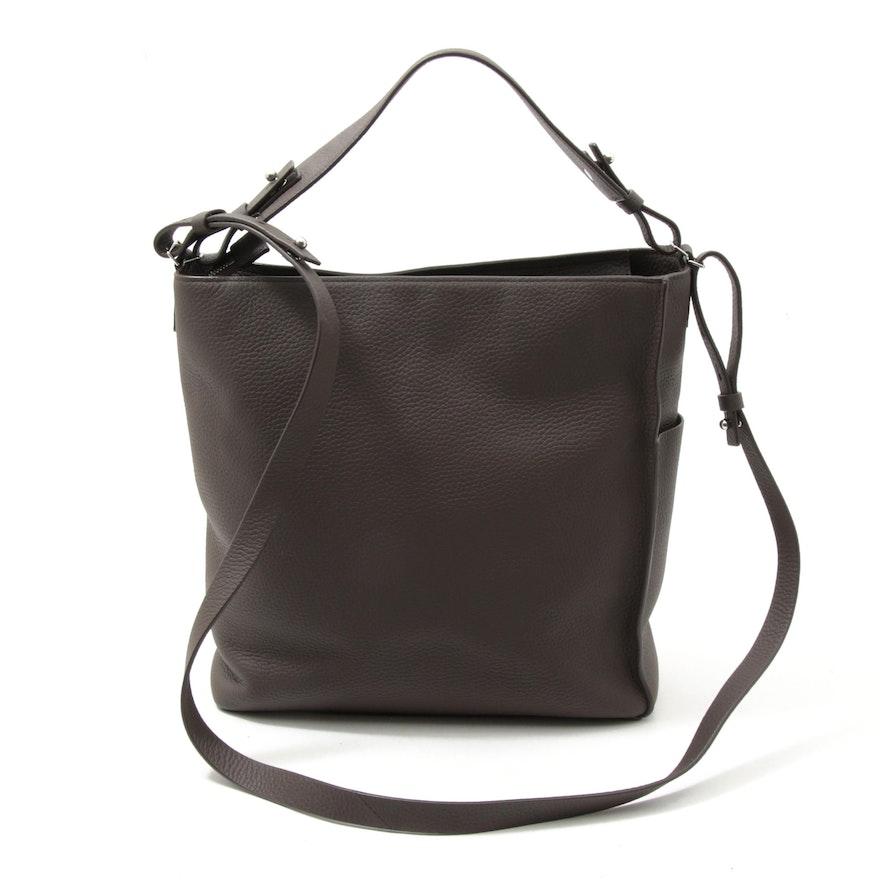 AllSaints Kita Convertible Crossbody Bag in Brown Pebble Grain Leather