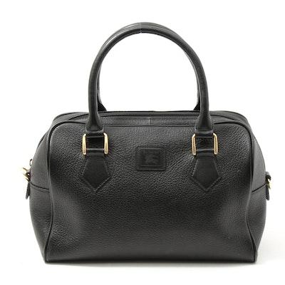 Burberrys Black Pebbled Leather Satchel