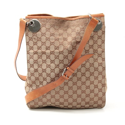 Gucci GG Supreme Canvas Crossbody Bag Trimmed in Orange Leather
