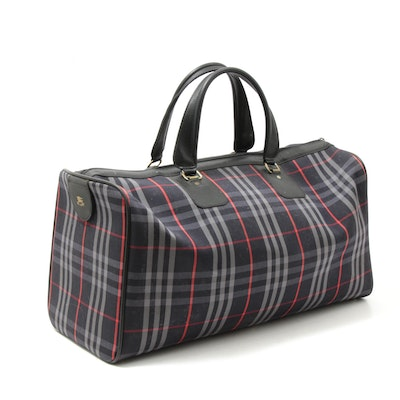 Burberrys Check Canvas Barrel Bag with Leather Trim