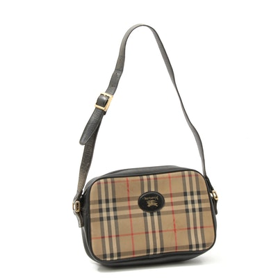 "Burberrys ""Haymarket Check"" Canvas and Black Leather Shoulder Bag, Vintage"