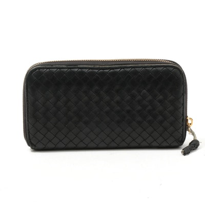 Bottega Veneta Nero Intrecciato Nappa Leather Zip Wallet