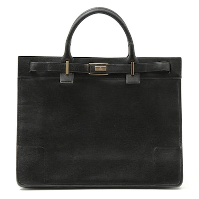 Gucci Black Cross Grain Leather Portfolio Tote