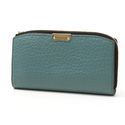 Burberry Pebble Grain Leather Continental Zip Wallet in Aqua