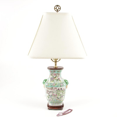 Chinese Bird Painted Ceramic Table Lamp, Vintage