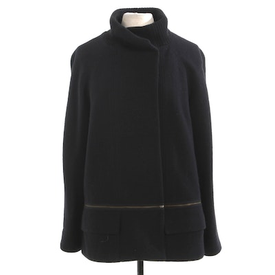 Vince Length-Convertible Black Wool Jacket with Ribbed Knit Collar