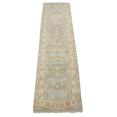 2'8 x 10'3 Hand-Knotted Indo-Turkish Oushak Rug