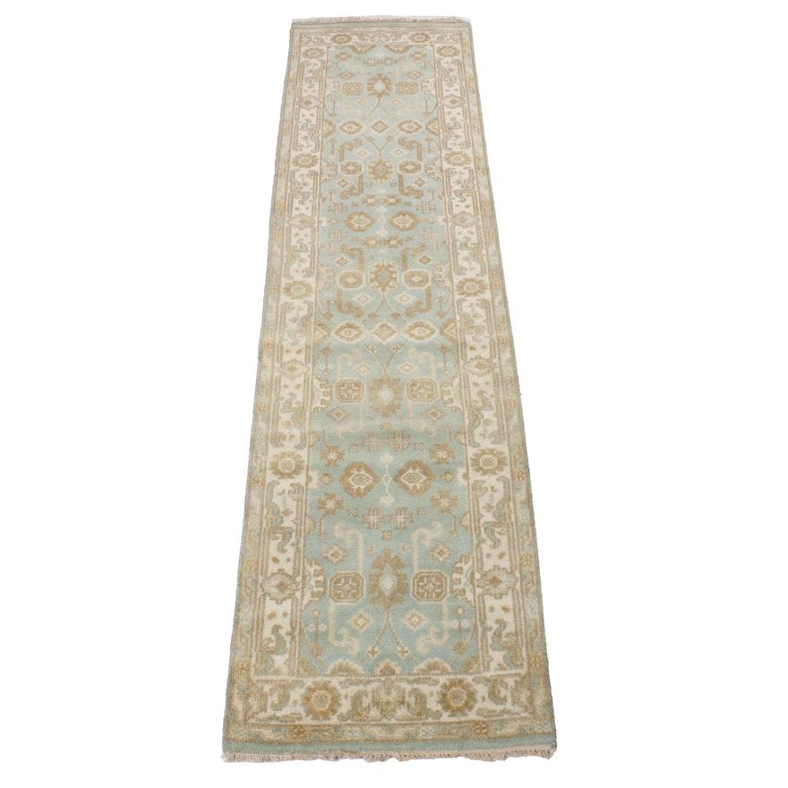 2'8 x 10'3 Hand-Knotted Indo-Turkish Oushak Rug