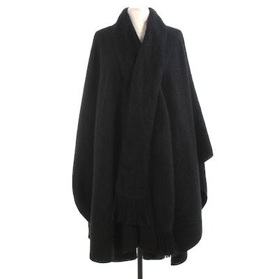 Alpaca Camargo Black Wool Poncho Wrap with Attached Fringed Scarf