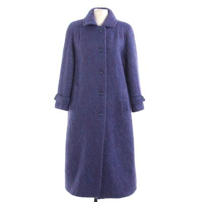 Avoca Handweavers of Ireland Purple Mohair and Wool Blend Single-Breasted Coat