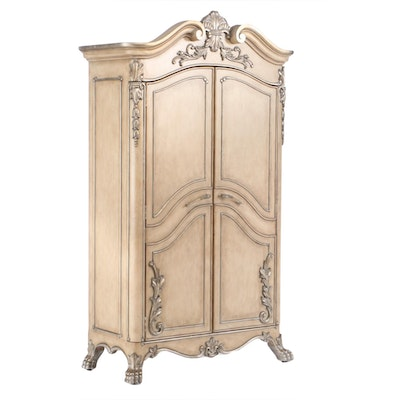Baroque Style Cream-Painted and Parcel Silver-Gilt Armoire