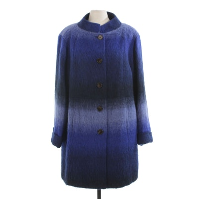 Tory Burch Blue Ombré Mohair Wool Blend Coat