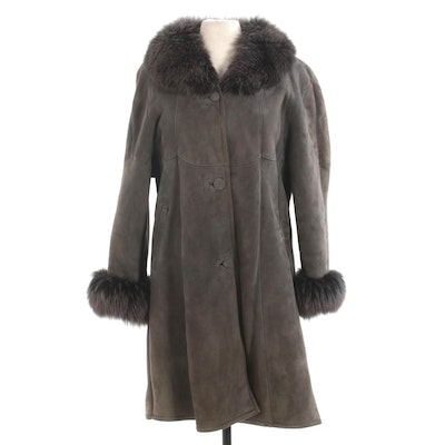 Fox Fur Trimmed Grey Sheepskin and Shearling Button-Front Coat