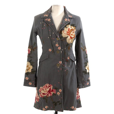 Pure West by Cheryl Long Floral Embroidered Denim Button-Front Long Jacket
