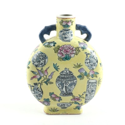 Chinese Painted Floral Vessel Porcelain Moon Flask, Early 20th Century