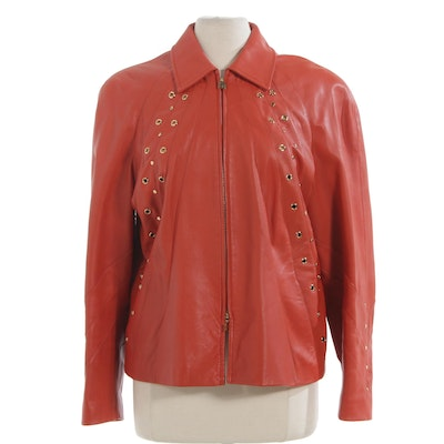 St. John Sport Leather Zip Jacket with Grommets