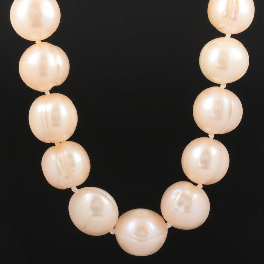14K Yellow Gold Pearl Necklace