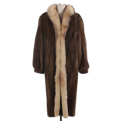 Chestnut Mink Fur Coat with Crystal Fox Fur Collar and Banded Cuffs