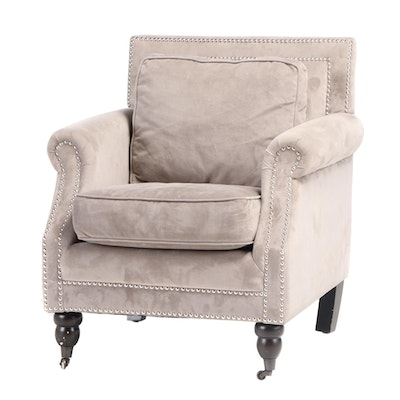 Safavieh Grey and Chrome-Tacked Upholstered Armchair