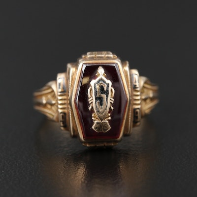 Vintage 10K Corundum and Enamel Class Ring