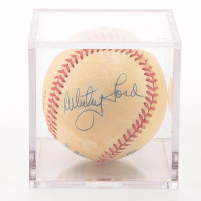 Whitey Ford Signed American League Baseball  COA