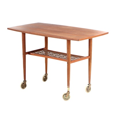 Alberts Tibro Sweden Mid Century Modern Teak Table Cart on Wheels