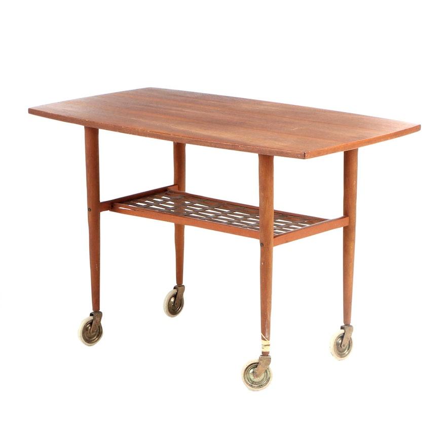 Alberts Tibro Sweden Mid Century Modern Teak Table Cart on Wheels