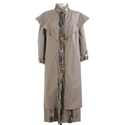 Grey Broadtail Lamb Fur Lined Grey Nylon Raincoat