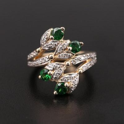 Sonia B 14K Yellow Gold Tsavorite and Diamond Bypass Ring