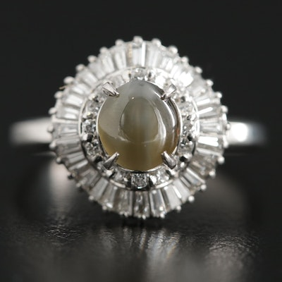 Platinum Cat's Eye 1.48 CT Chrysoberyl and Diamond Ballerina Ring