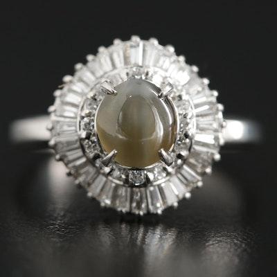 Platinum Cat's Eye 1.48 CT Chrysoberyl and Diamond Ballerina Ring