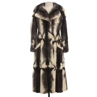 Cross Mink Fur Long Coat with Wide Notched Collar by Gartenhaus