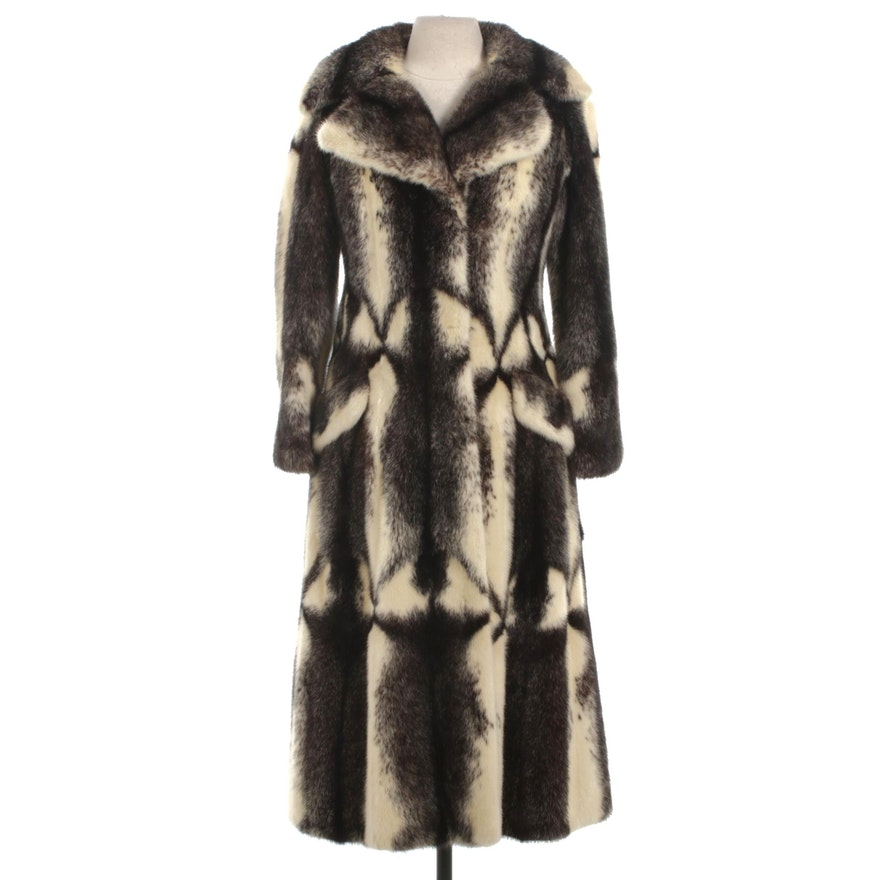 Cross Mink Fur Long Coat with Wide Notched Collar by Gartenhaus