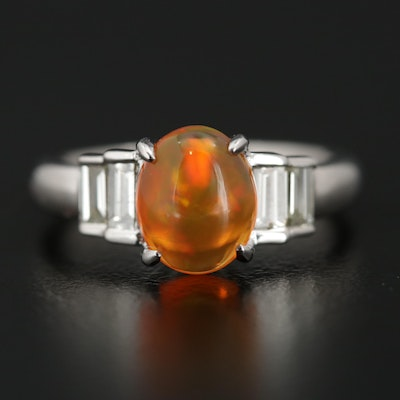 Platinum 1.43 CT Contra Luz Fire Opal and Diamond Ring
