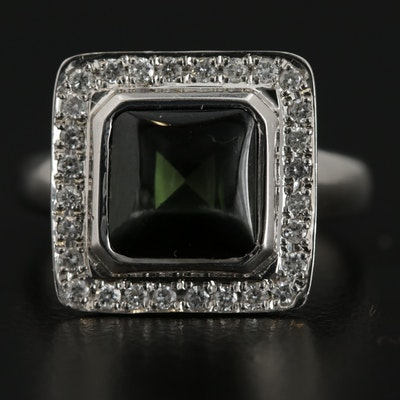 Platinum 2.75 CT Tourmaline and Diamond Ring