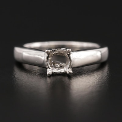 14K White Gold Open-Mount Solitaire Ring