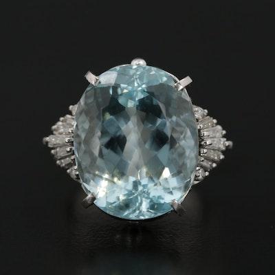 Platinum 15.64 CT Aquamarine and Diamond Ring