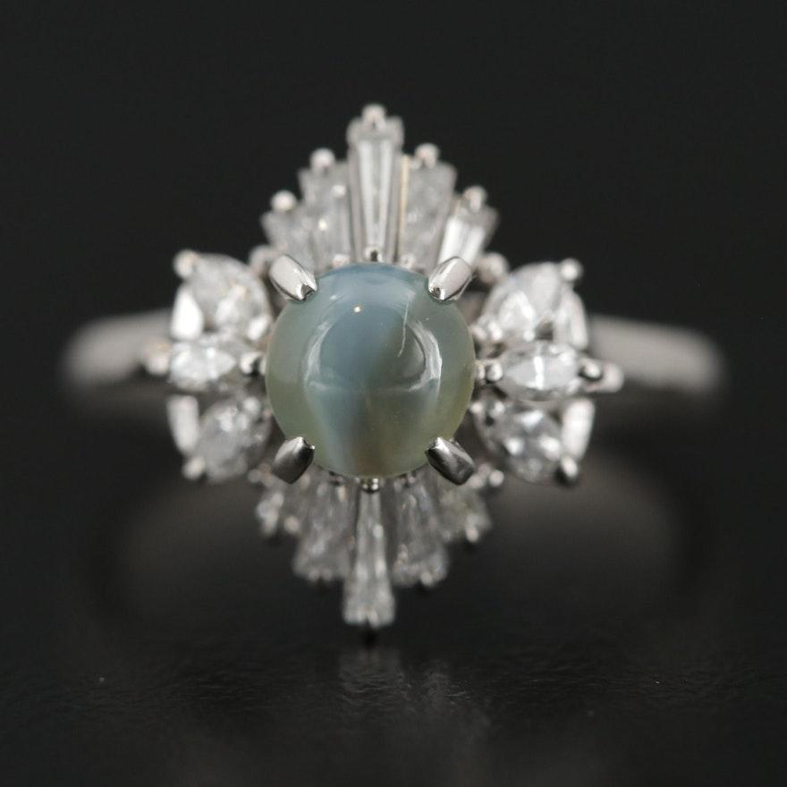 Platinum 1.10 CT Cat's Eye Chrsoberyl and Diamond Ring