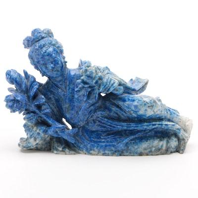 Chinese Carved Lapis Lazuli Goddess Figure