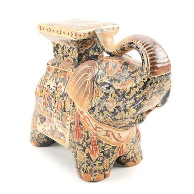 """Japanese """"Satsuma"""" Style Hand-Painted Gilt Ceramic Elephant"""