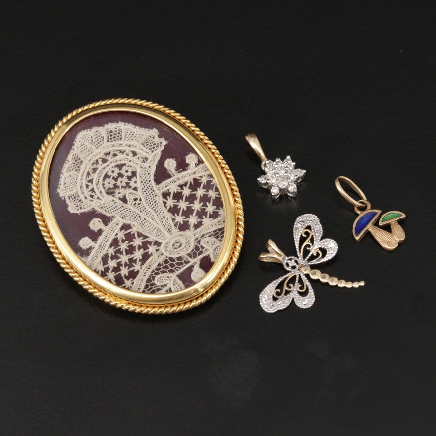 14K and 10K Pendants with Brooch Locket, Diamond and Enamel