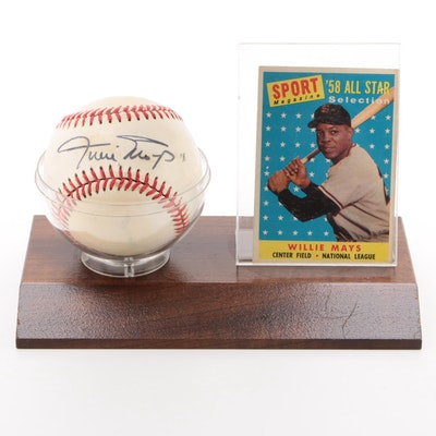 Willie Mays Signed National League Baseball with 1958 Card  COA