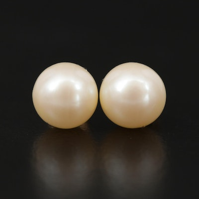 9K Yellow Gold Pearl Stud Earrings