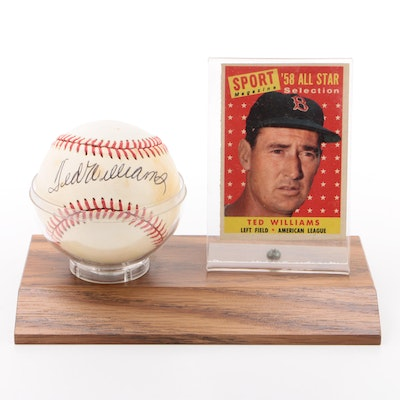 Ted Williams Signed American League Baseball with Baseball Card  COA