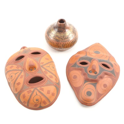 Terracotta Southwestern Style Masks with Horsehair Bud Vase Late 20th Century